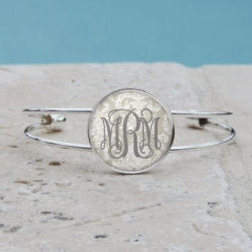 Shabby Chic Taupe Damask Monogram Pendant, Monogram Bangle, Monogram Cuff Bracelet, Monogram Jewelry, Monogram Accessories,