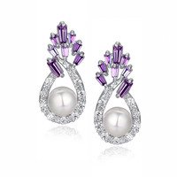 Shell Pearl W. Purple Baguette and Clear Round Cubic Zirconia Earrings