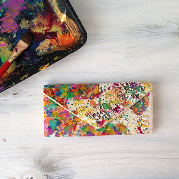 Painted map of the world women's wallet/canvas travel wallet with watercolor map of the world/cash envelope wallet