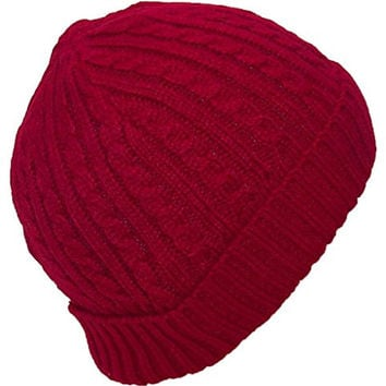Angela & Williams Adult Tight Cable & Rib Knit Cuffed Winter Hat (One Size) - Red