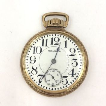 "Waltham ""Crescent St."" 21j 10k Gold Filled Open Face 16s Railroad Pocket Watch"
