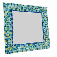Lime Green and Turquoise Square Mosaic Wall Mirror