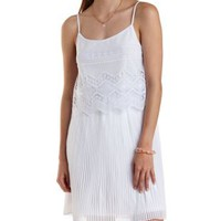 White Embroidered Mesh & Pleated Chiffon Dress by Charlotte Russe