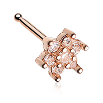 Rose Gold Color Spring Flower Sparkle Prong Set Nose Stud Ring - 20 G - Sold as a Pair
