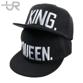 Trendy Winter Jacket Hot Sale KING QUEEN Embroidery Snapback Hat Acrylic Men Women Couple Baseball Cap Gifts Fashion Hip-hop Caps AT_92_12