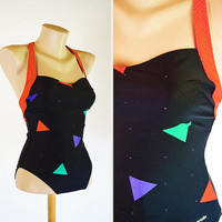 Vintage 80s black green red lilac white dots triangle shapes geometric colorful retro swimsuit bodysuit bathingsuit swimwear beach Ariella