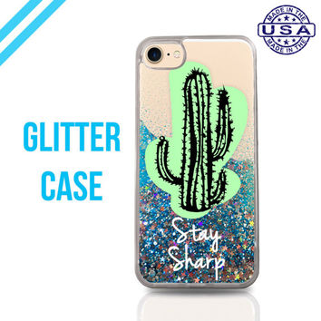 Stay Sharp Cactus Quote Green Cute Liquid Glitter Case Sparkle Clear Case iPhone 6 Plus iPhone 6s iPhone 6s Plus iPhone 7 iPhone 7 Plus