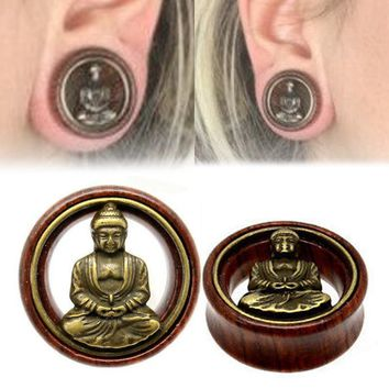 Fashion 1 Pair Wood Buddha Ear Plugs Double Flared Flesh Tunnel Gauges For Women Men Body Piercing Jewelry 8-20mm