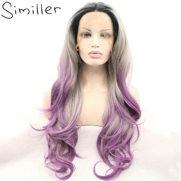 """Similler Ombre Heat Resistant Synthetic Hair Half Hand Tied Body Wave Long Lace Front Wigs 3 Tones Black Silver Purple 24"""""""