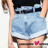 Lookbookstore Dark Blue Boyfriend Loose Fit Denim Jeans Shorts Pants Rolled Cuffs - NO BELT @lookbookstore #lookbookstore
