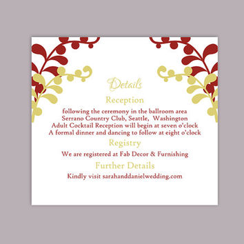 DIY Wedding Details Card Template Editable Text Word File Download Printable Details Card Red Green Details Card Enclosure Cards