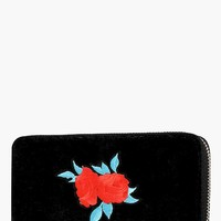 Eliza Velvet Embroidered Zip Around Purse | Boohoo