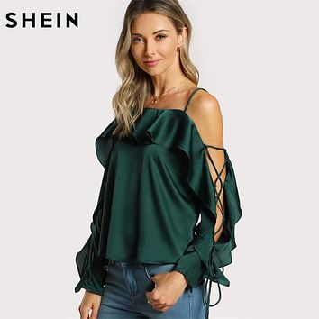SHEIN Lace Up Silk Blouse Sleeve Flounce Top Woman Blouses 2017 Autumn Green Spaghetti Strap Ruffle Long Sleeve Party Blouse
