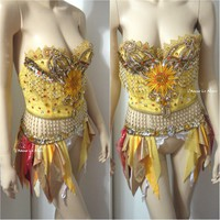 Sun Rave Crop Top and Garter Belt Dance Halloween Costume Bra Corset