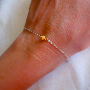 Mini Micro Ethiopian Welo Opal Solitaire Bracelet or Anklet 925 Sterling Silver Rose Gold Fill 14k Gold Fill Chain Handmade Jewelry