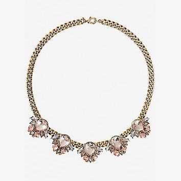 blush mixed teardrop stone cluster necklace