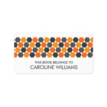 Modern gray orange hexagon bookplate book label