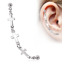 316L Surgical Steel Triple Cross Cartilage Earring