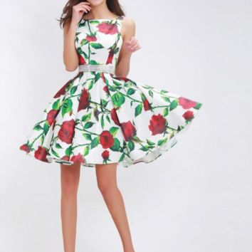 Short Prom Dresses for Girls Sleeveless Backless Floral Print A-Line Tank A-Line Party Gowns Special Occasion Dresses