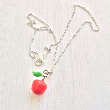 Apple necklace with silver plated chain - enamel apple charm - red apple - gift for student - gift for teacher - school present etsy uk