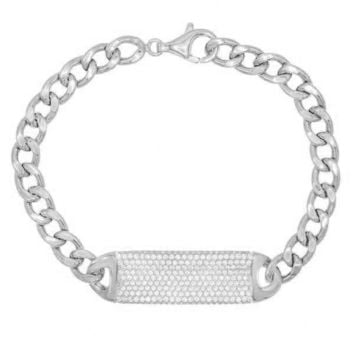 Pave ID Link Curb Chain Bracelet in 18K White Gold Plated
