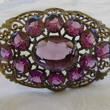 Art Nouveau Brooch, Amethyst Sash Pin, 1930s Vintage Jewelry, Purple Faceted Glass, Large brooch