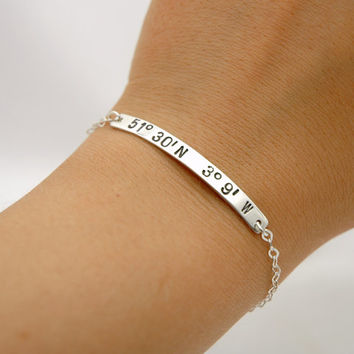 latitude location or by bangle silver nelleandlizzy com in laditude and college braclet school sterling longitude coordinates with bracelet