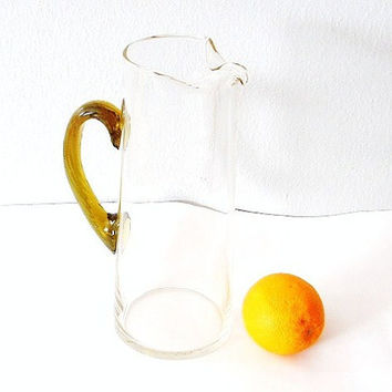 Vintage Glass Pitcher Yellow Blown Glass Orange Juice Pitcher Yellow Amber Glass Server Pourer