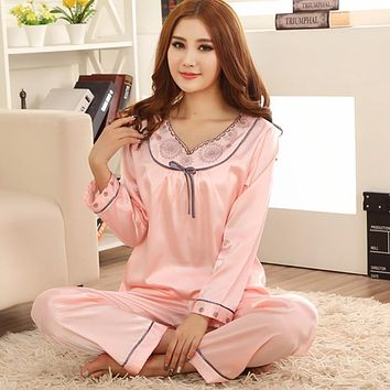 Women Satin Sleep Wear Long Sleeve Pajama  V-neck Pijama Soft Pyjama Set Fashion Indoor Clothing Casual Night Wear Home Wear