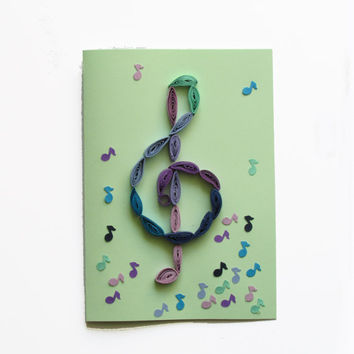 Treble Clef Quilling Card, Music Greeting Card with Quilled Treble Clef and Notes
