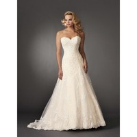Strapless Sweetheart Neckline Brocade Lace Beaded Appliqued Wedding Dress