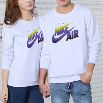NIKE Set head fleece couple loose long-sleeved round collar cotton White