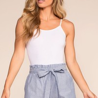 Picnic Fiesta High Waisted Stripe Shorts - Blue