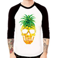 PINEAPPLE SKULL art gift party hype dope punk rock goth fruit graph Baseball Jersey t-shirt 3/4 sleeve Raglan Tee