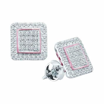 10kt White Gold Women's Round Diamond Cluster Square Rose-tone Stud Earrings 1-3 Cttw - FREE Shipping (US/CAN)