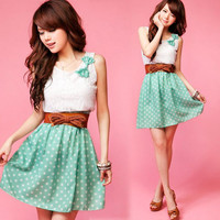 Korea Girl Faux 2 Pcs Sleeveless Lace Dot Bowknot Tunic Bright Mini Dress