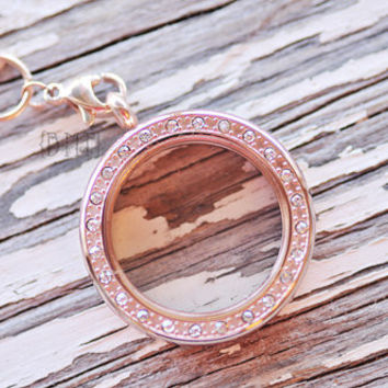 Memory Locket Round Rose Gold BLING with Chain- Princess Charming