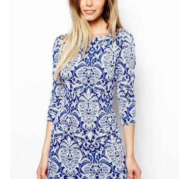 Blue and White Porcelain Print Half Sleeve Lo w Back Mini Dress