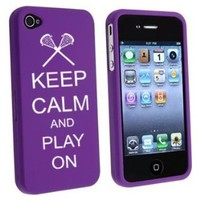 Apple iPhone 4 4S Purple Rubber Hard Case Snap on 2 piece Keep Calm and Play On Lacrosse