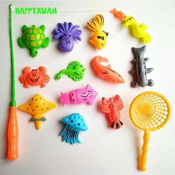 DCCKL72 14pcs Set Magnetic Fishing Toy Game Kids 1 Rod 1 net 12 3D Fish Baby Bath Toys Outdoor Fun