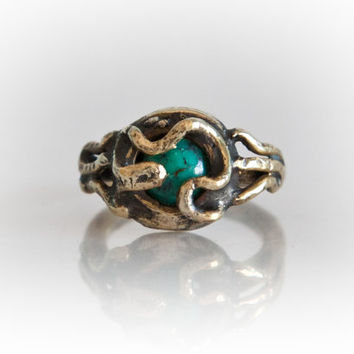 Turquoise stone boho gypsy gold ring women- solid brass