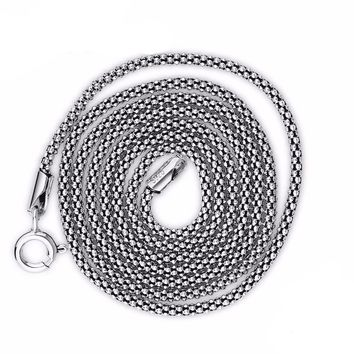 Bold 925 Sterling Silver Chain Necklaces Men Jewelry 40-75CM 16-30Inche 1.8/2.5MM Stamped Italy
