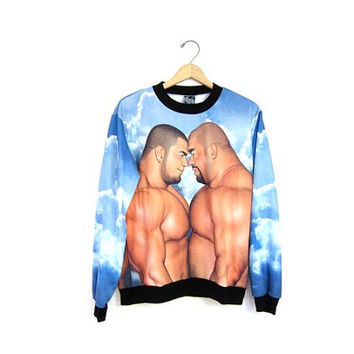Massive Muscle Sweatshirt. Gay Manga Jiraiya Sweatshirt. Clouds Fighting Men Wrestling Grunge Punk Boyfriend. Small