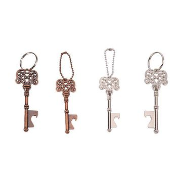 Stainless Steel Key Shaped Keychain Bottle Opener Buckle Wine Beer Soda Glass Cap Bar Tool Silver Club