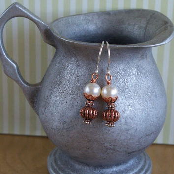 Vintage Lamp - Mixed Metal Silver and Copper Earrings with Swarovski Crystal Pearls SRAJD