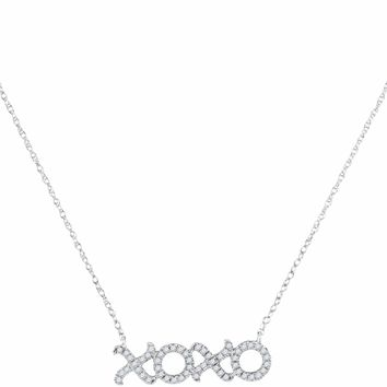 10kt White Gold Women's Round Diamond XOXO Hugs Kisses Letter Pendant Necklace 1-6 Cttw - FREE Shipping (US/CAN)