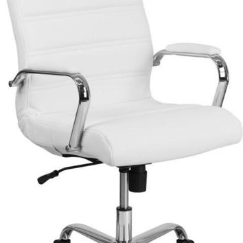 High Back White Leather Executive Swivel Office Chair with Chrome Arms
