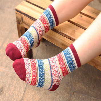 2016 New Hot Womens Girls Spring Casual Sports Boho Wool Warm Stockings (3PCS) Socks-36