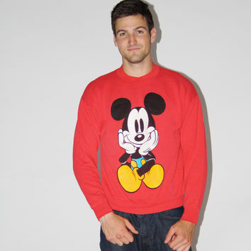 1980s Vintage Red Mickey Mouse Sweatshirt