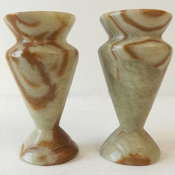 Pair Vintage Alabaster Candlesticks, Urn Shaped Brown Beige & Cream Candle Holders, Retro Boho Home Decor